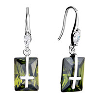 Earrings - clear swarovski crystal oval dangle olivine rectangle cross earrings gifts for women Image.