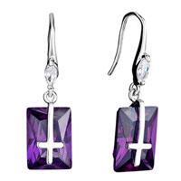 Earrings - clear swarovski crystal oval dangle tanzanite rectangle cross earrings gifts for women Image.