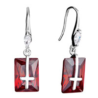 Earrings - clear swarovski crystal oval dangle january birthstone siam rectangle cross earrings gifts for women Image.