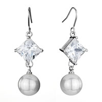 Earrings - clear swarovski crystal square dangle white pearl fish hook earrings gifts for women Image.