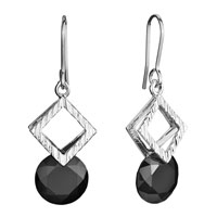 Earrings - double square black swarovski crystal dangle fish hook earrings gifts for women Image.
