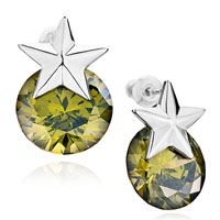 Earrings - star olivine swarovski crystal stud earrings gifts for women Image.