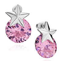 Earrings - star october birthstone rose swarovski crystal stud earrings gifts for women Image.