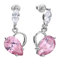 Earrings - clear swarovski crystal oval dangle heart october birthstone light rose drop earrings gifts for women Image.