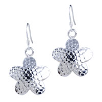 Sterling Silver Jewelry - vintage fish scale pattern starfish dangle earrings Image.