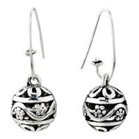 Sterling Silver Jewelry - ball flower pattern vintage hook earrings dangle for women Image.