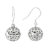 Sterling Silver Jewelry - fine ball pattern vintage fish hook earrings gifts for women Image.