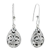 Sterling Silver Jewelry - victorian design drop vintage silver plated hook earrings for women Image.