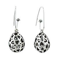 Sterling Silver Jewelry - open heart filigree silver plated hook earrings gifts for women Image.