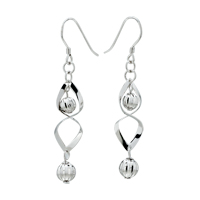 Earrings - diamond ball dangle vintage hinged fish hook earrings Image.