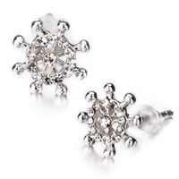 Earrings - white crystal rudder stud earrings for women Image.