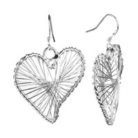 Earrings - filigree vintage antique heart dangle earrings Image.
