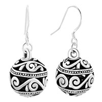 Earrings - silver tone dangle filigree flower ball fish silver hook earrings Image.
