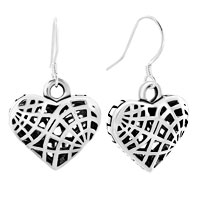 Earrings - 3 d filigree spider web fish hook earrings Image.