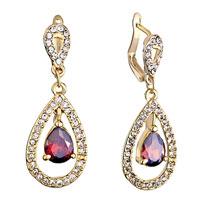 Earrings - golden drop clear detailed swarovski crystal dangle january birthstone siam earrings Image.
