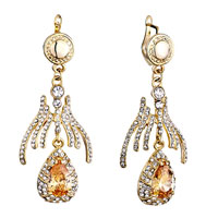 Earrings - golden pattern clear detailed swarovski crystal dangle drop light peach rhinestone earrings Image.