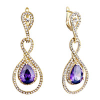Earrings - golden abstract 8  clear swarovski crystal tanzanite rhinestone drop dangle earrings Image.