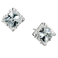 Earrings - april white clear yellow fringe crystalstud earrings Image.