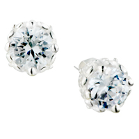 Earrings - april white clear sun flower crystalstud earrings Image.