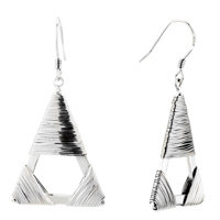 Earrings - 925  sterling silver triangle wire twined stick dangle hook earrings Image.