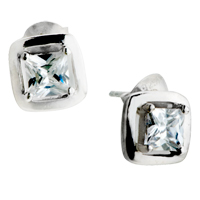 Earrings - april birthstone white clear silver/ p framed crystal stud earrings Image.