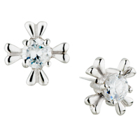 Earrings - april white clear silver flower crystalstud earrings Image.