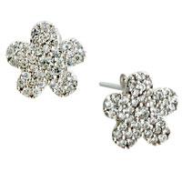 Earrings - silver flower crystal dotted sterlingstud earrings Image.