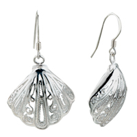 Earrings - silver sector pattern sterling 925  dangle fish hook earrings Image.