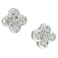 Earrings - silver petal crystal sterlingstud earrings Image.