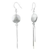 Earrings - dangle circle long linear 925  sterling silver fish hook earrings Image.