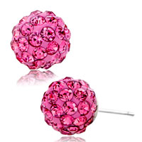 Earrings - adorable pink crystal ball october birthstone stud fancy earrings Image.