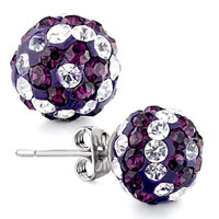 Earrings - ball april february clear purple birthstone swarovski crystal stud earrings Image.
