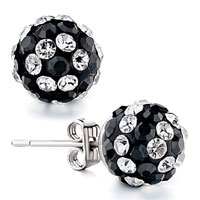 Earrings - ball black clear rhinestone swarovski crystal stud earrings Image.