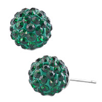 Earrings - emerald green crystals diamond birthstone shamballa studs earrings Image.