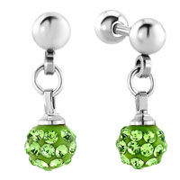 Earrings - carilage earrings little disco ball august birthstone peridot swarovski crystal dangle earrings Image.