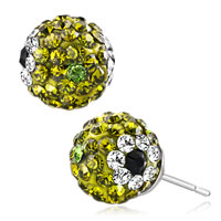 Earrings - peridot green crystals diamond black eyes august birthstone shamballa studs earrings Image.