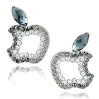 EA_ML01: apple march birthstone crystal cz leaf earrings re stud Image.