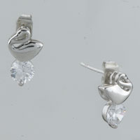 Earrings - goose clear crystal cubic zirconia round earrings re stud Image.