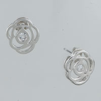 Earrings - rose clear crystal cubic zirconia stud earrings for fashion women Image.
