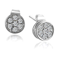 Earrings - fashion silver tone round clear crystal cz earrings re stud Image.