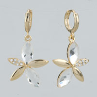 Earrings - fancy flower clear crystal petal dangle 14 k gold plated earrings Image.
