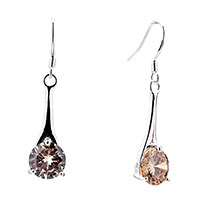 Earrings - brown crystal hanging chandelier fish hook earrings Image.