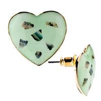Earrings - adorable green heart stone small floral stud earrings girl' s Image.