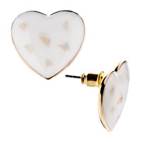 Earrings - adorable pink heart stone stud gold plated earrings girl' s Image.