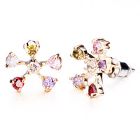 Earrings - lovely flower five colorful crystals stud silver plated earrings Image.