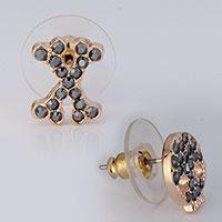 Earrings - halloween skull x black crystal stud earrings Image.