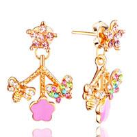 Earrings - adorable crystal butterfly &  bee pink enamel flower stud earrings Image.