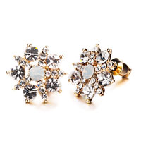 Earrings - classy crystal flower stud earrings Image.