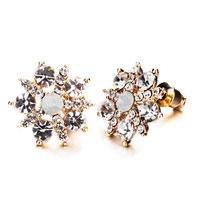 Earrings - classy crystal flower stud earrings Image.