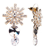 Earrings - shimmering clear crystal flower dangle white crystal & stud earrings Image.